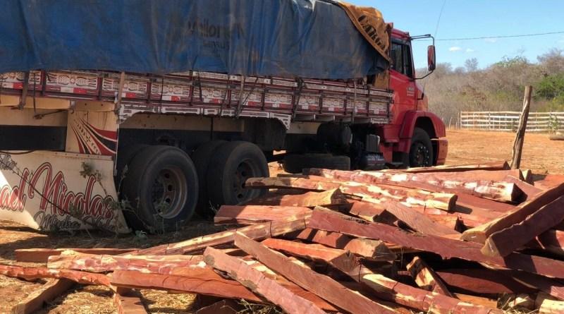 PRF prende caminhão carregado de aroeira em Morro Cabeça no Tempo no Piauí