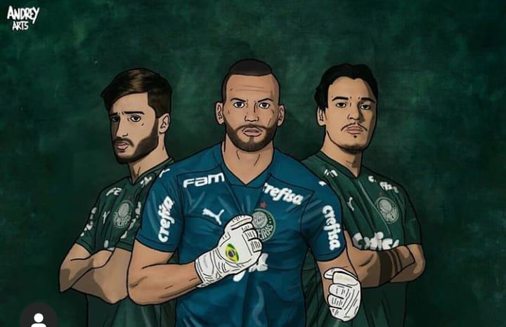 """Palmeiras posta ilustração de Viña, Weverton e Gomez: """"Um de cada seleção!"""